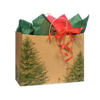 """Pack Of 25, Vogue 16 X 6 X 12"""" Evergreen Tree Recycled Paper Shopping Bags Made In Usa"""