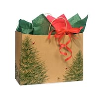 """Pack Of 250, Vogue 16 X 6 X 12"""" Evergreen Tree Recycled Paper Shopping Bags Made In Usa"""