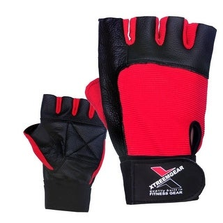 Weight Lifting Gloves Leather Fitness Training Gym Straps Workout Black/Red G2Red. - Red
