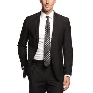 Kenneth Cole Reaction Slim Fit Black Striped Sportcoat 38 Short 38S