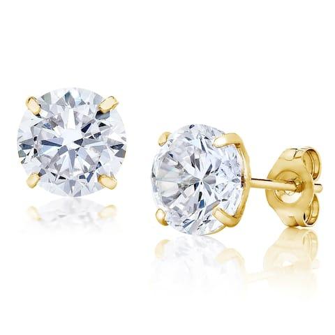 Pori Jewelers 14K Gold 6MM Round-Cut Stud Earrings wCrystal by Swarovski