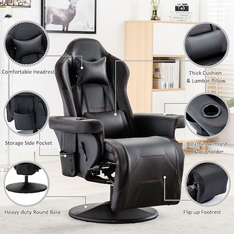 Reclining Gaming Chair With Adjustable Headrest And Lumbar Support