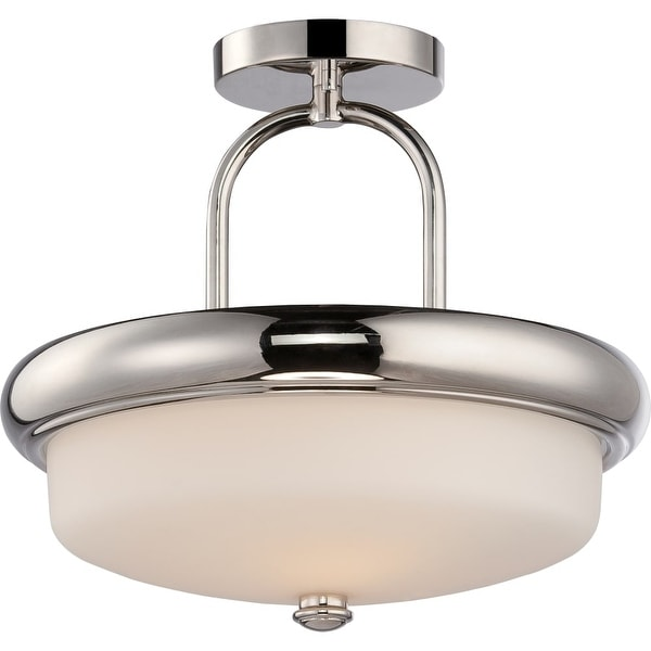 """Nuvo Lighting 62/404 Dylan 2-Light 13"""" Wide LED Semi-Flush Bowl Ceiling Fixture - Polished Nickel"""