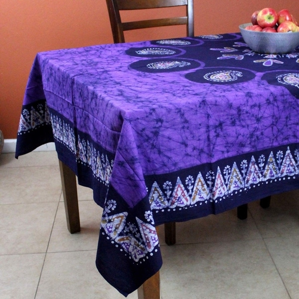 Multi Batik Floral Paisley Tablecloth Rectangular Cotton 60 x 90 inches Purple - 60 x 90 inches