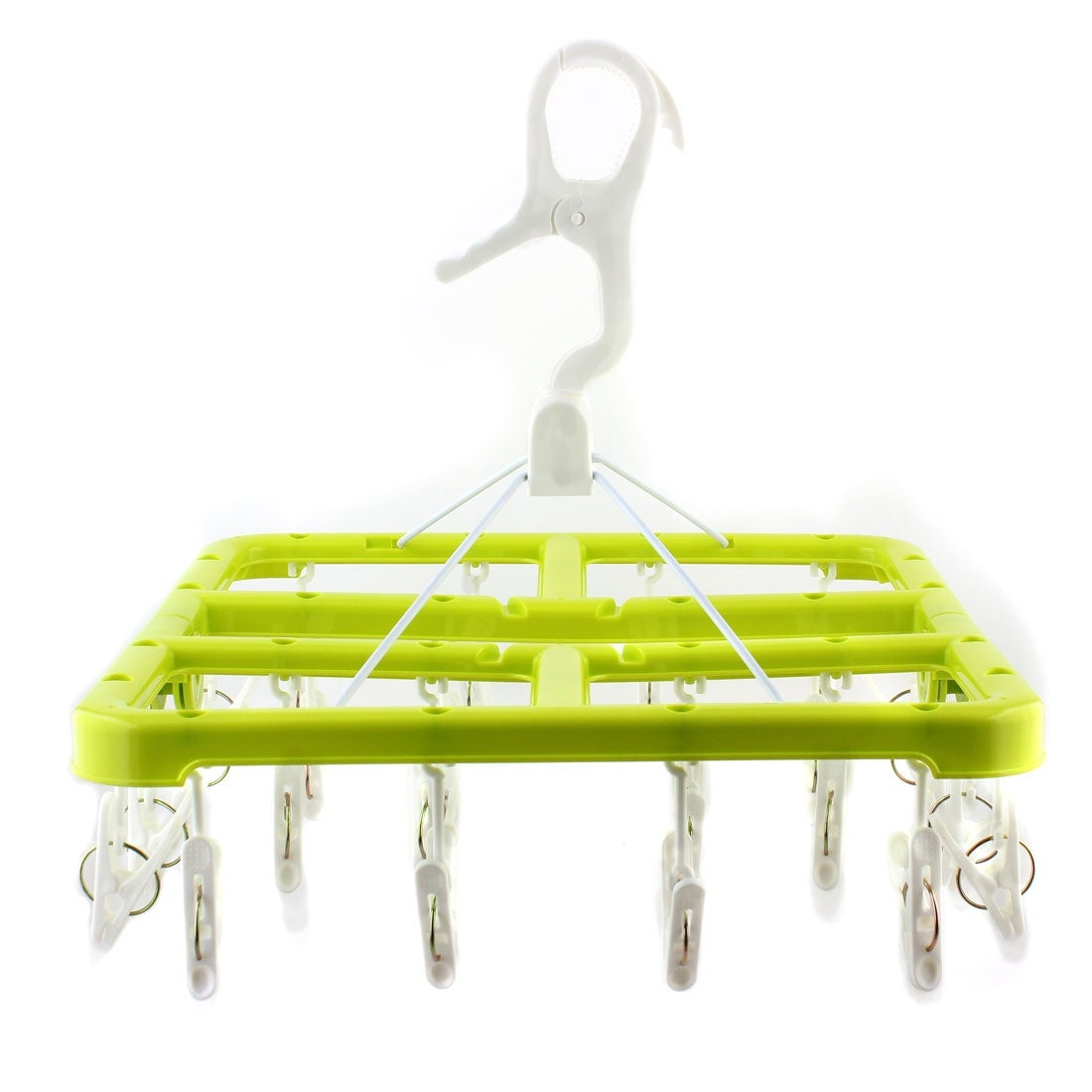 Household Plastic Square 24 Clips Underware Clothes Laundry Hanger Light Green