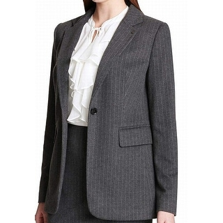 Link to Tommy Hilfiger Women's Suit Jacket Gray Size 6 Blazer Striped 1 Button Similar Items in Suits & Suit Separates