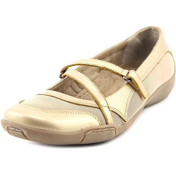 Auditions Crescent Women 2A Round Toe Leather Gold Mary Janes