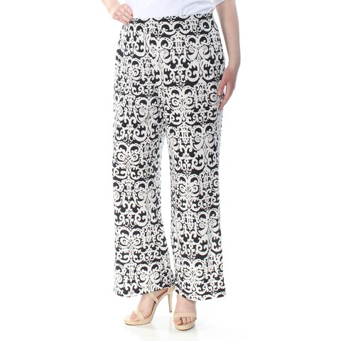 NY COLLECTION Womens White Mid-rise Pull-on Printed Straight leg Evening Pants Size: XL