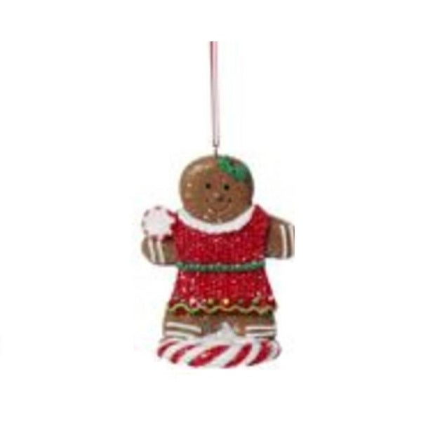 "3"" Gingerbread Kisses Dapper Cookie Girl with Peppermint Candy Glittered Christmas Ornament - brown"