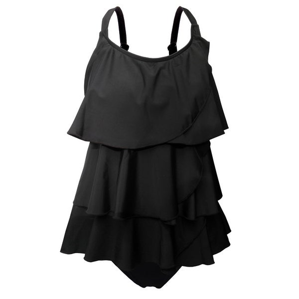 Multi-Tiered Tankini w/Adjustable Straps & Brief Bottom in Solid Black. Opens flyout.