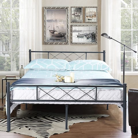 Easy-to-assemble Full Metal Bed Frame Platform Mattress Foundation with Headboard ,Under-bed Storage,Multiple Color