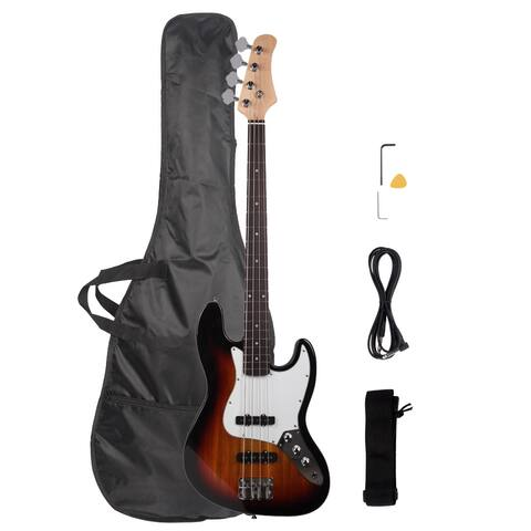 """45.7"""" jazz Electric Bass SS Pickup Bags Cables Wrench Tools"""