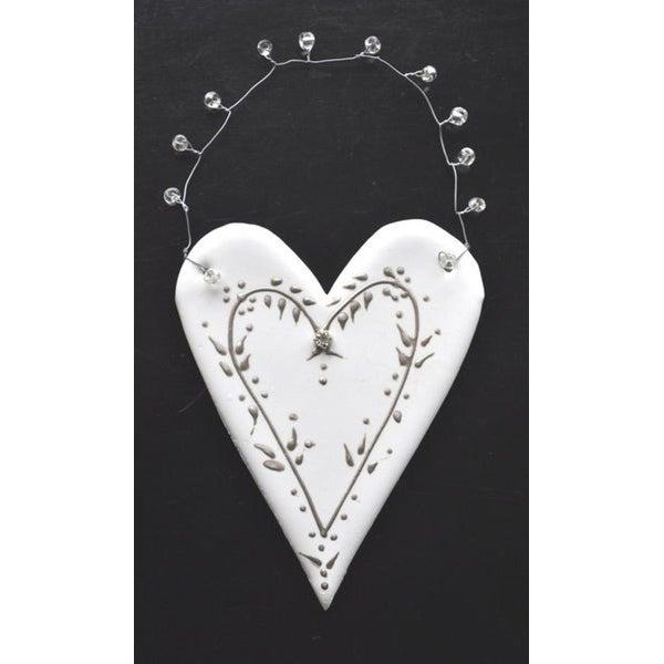 "Set of 4 Egyptian Hand Crafted Clay Heart with Vine Christmas Ornaments 6"" - WHITE"