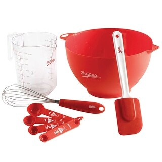 Mrs. Fields 8 pc. Mixing Bowl Essentials Set - Bowl, Measuring Cup, Whisk, and Spatula
