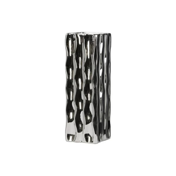 Dazzling Square Shape Ceramic Vase, Large, Silver