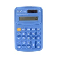 School Home Study Pocket Solar Powered 8 Digit Electronic Calculator Blue