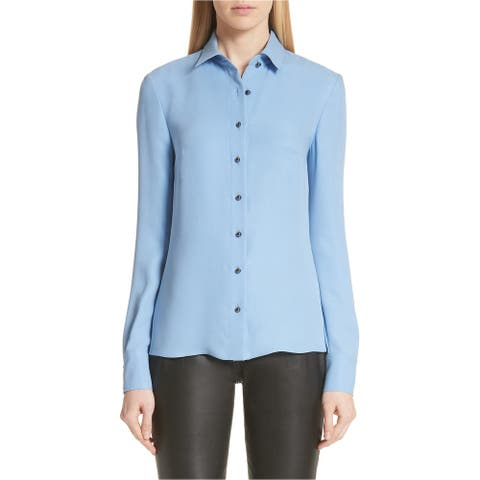 St. John Womens Georgette Button Up Shirt, blue, 4