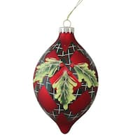 "4.75"" (120mm) Holiday Moments Geometric Plaid Mistletoe Finial Glass Christmas Ornament"