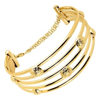 Multi-Band Bead Cuff with Extender Chain in 14K Gold - Yellow