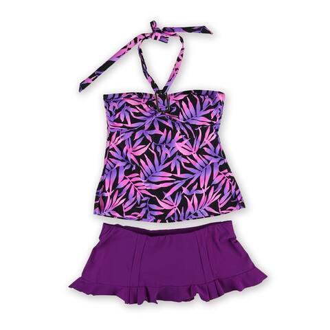 Island Escape Womens Tropical Bandini 2 Piece Bikini, purple, 6