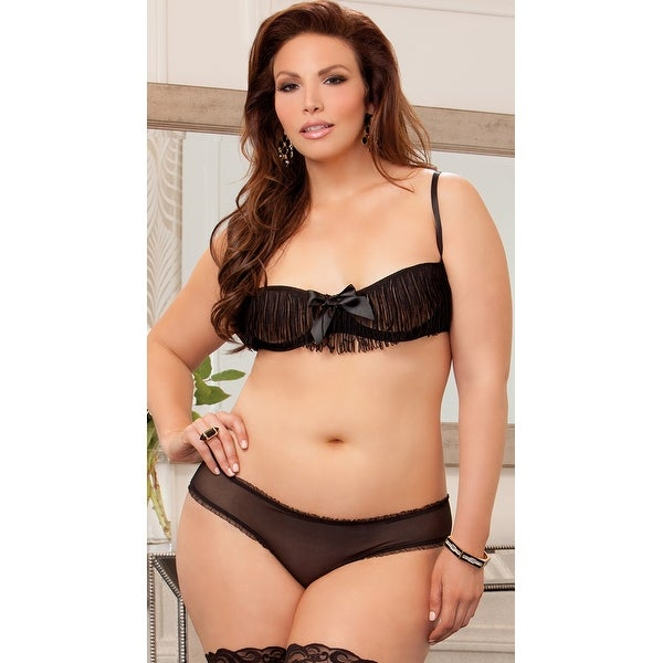 129b065eaa7c6 Shop Plus Size Fringe Cupless Bra And Crotchless Boyshort - Free Shipping  On Orders Over  45 - Overstock - 18000961