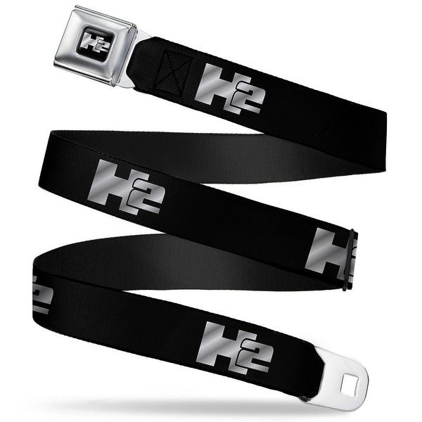 H2 Black Silver Logo Repeat Seatbelt Belt Fashion Belt