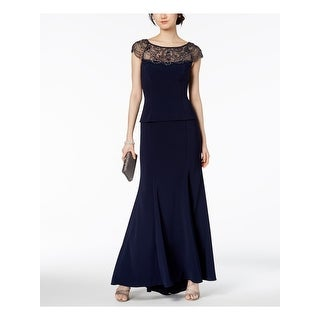 Link to XSCAPE Womens Navy Cap Sleeve Jewel Neck Maxi Evening Dress  Size 6 Similar Items in Petites