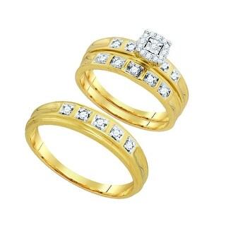 10k Yellow Gold Round Diamond His + Hers Matching Trio Wedding Engagement Bridal Ring 2-tone Set - White