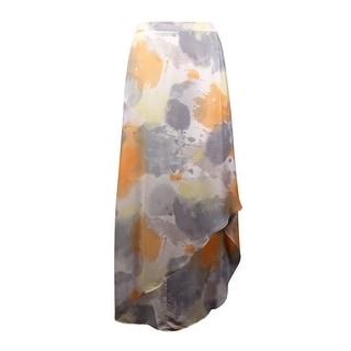 DKNYC Women's Watercolor Hi-Lo Chiffon Skirt (2, Spring Rain) - 2