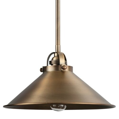 """Park Harbor PHPL5451 12"""" Wide Single Light Single Pendant with Industrial Style Cone Shade"""