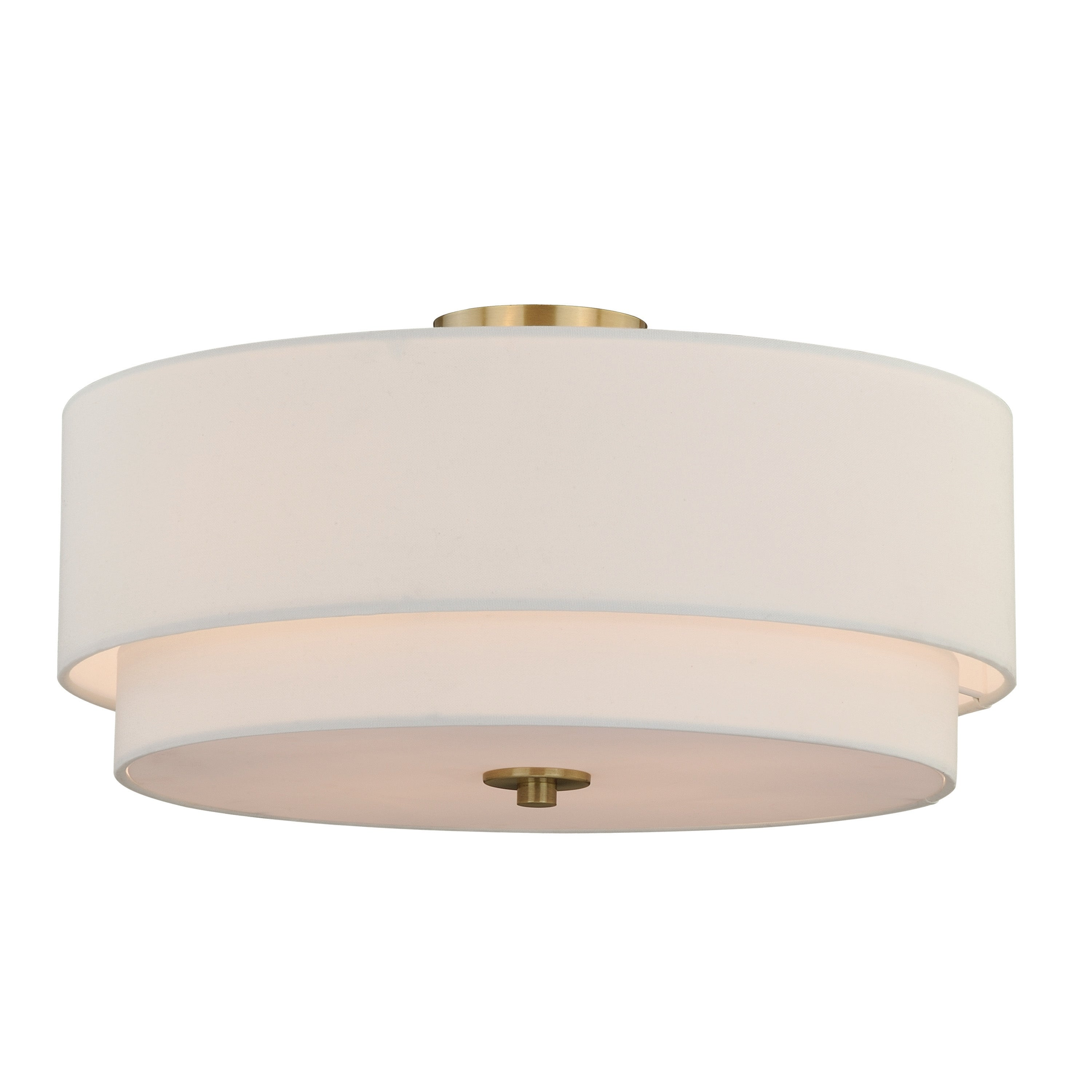 Image of: Shop Black Friday Deals On Burnaby 20 5 In W Brass Mid Century Modern Drum Semi Flush Mount Ceiling Light White Linen 20 5 In W X 8 In H X 20 5 In D Overstock 20985936