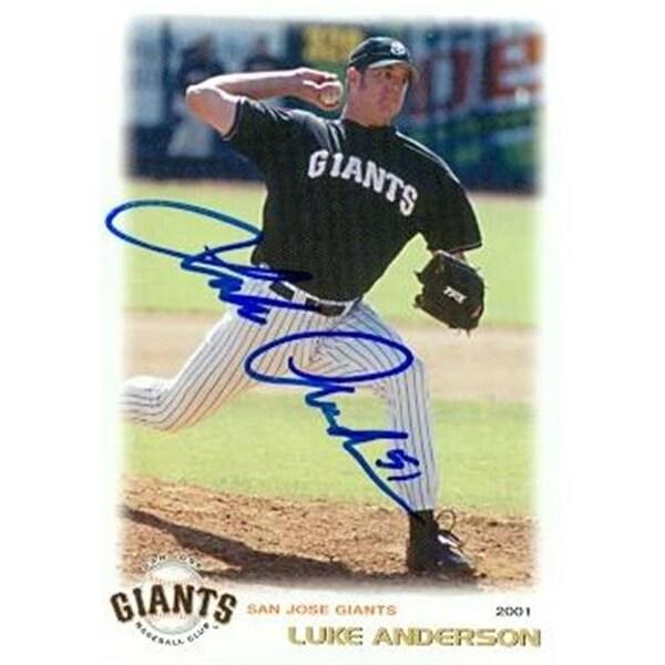 Luke Anderson Autographed Baseball Card Minor League 2001