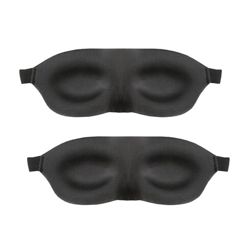 Support Plus Comfy Blink Sleep Masks - Contoured Light Blocking Eye Covers Promote Eye Movement - Set of Two