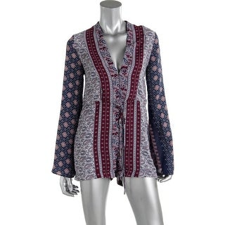 Olivaceous Womens Printed Deep V Romper