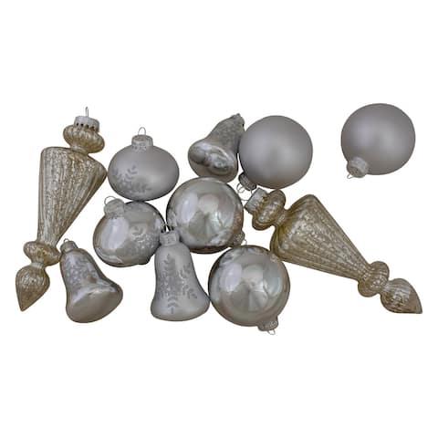 "Set of 36 Silver Contemporary Asymmetrical Christmas Ornaments 8"""