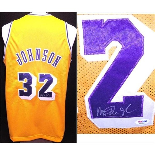Magic Johnson Autographed Los Angeles Lakers Custom Jersey With
