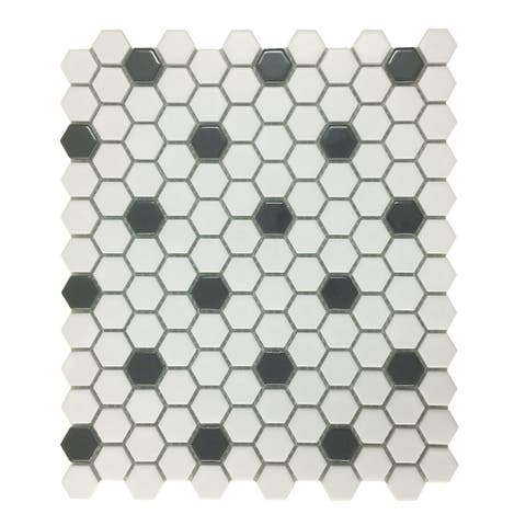 Mosaic Hexagon Matte White and Black Tile 23 Sheets 10.25 x 11.8 19.3 SQFT