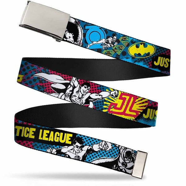 Blank Chrome Buckle Justice League Superheroes Retro Pop Multi Color Web Belt