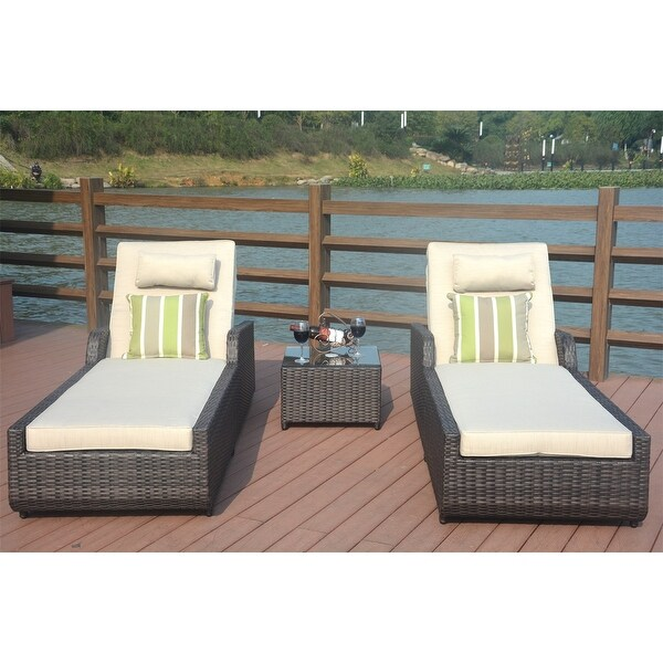 Jamaica 3-Pieces Outdoor Aluminum Adjustable Wicker Chaise Lounge Set by Direct Wicker