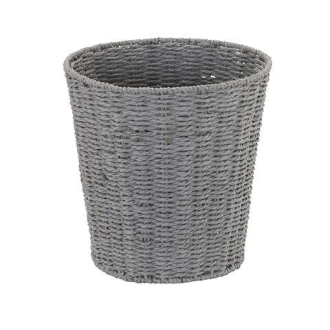 Household Essentials Grey Paper Rope Waste Basket Trash Bin