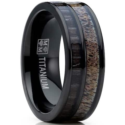 Oliveti Men's Titanium Ring Wedding Band with Real Deer Antler, Koa Wood Inlay, Outdoor Hunting