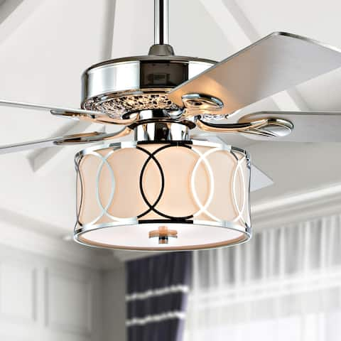 "Circe 52"" 3-Light Drum LED Ceiling Fan With Remote, by JONATHAN Y"