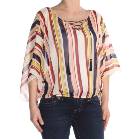 Sanctuary Red Laced Up Striped Women's Size Medium M Poncho Blouse