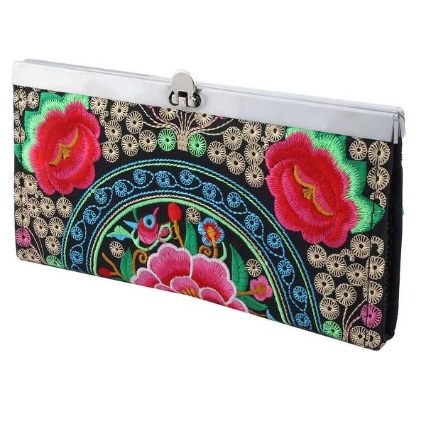 Women Ladies Embroidered Flower Pattern Flip Lock Closure Wallet Purse