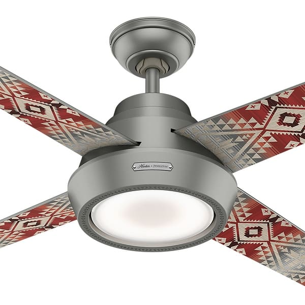 Hunter 54 Pendleton Ceiling Fan With Led Light Kit And Handheld Remote Matte Silver Overstock 27538893