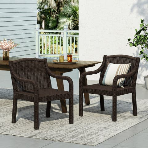 Marengo Outdoor Faux Wicker Outdoor Dining Chairs by Christopher Knight Home