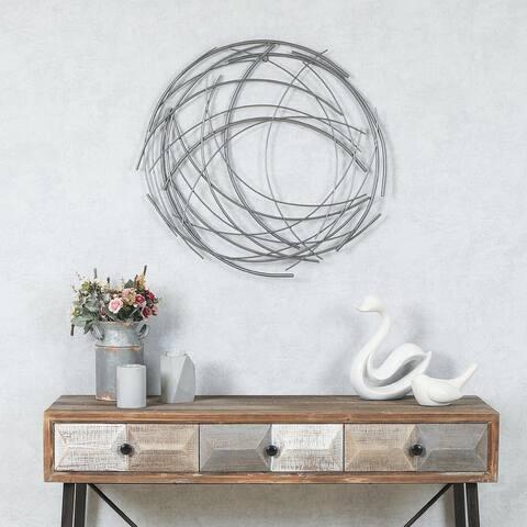 Carbon Loft Abstract Iron Sticks Round Wall Decor