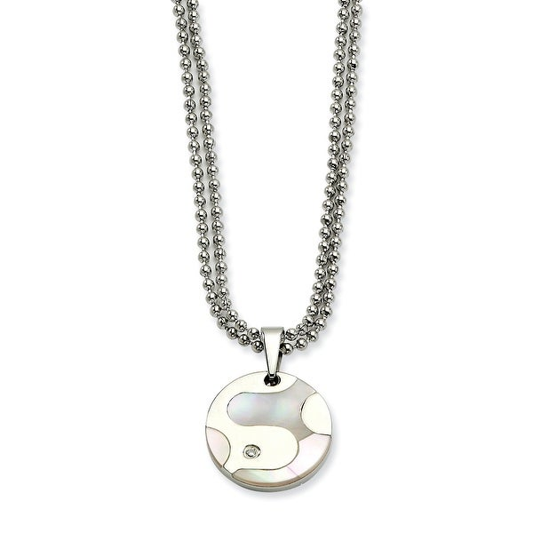 Chisel Stainless Steel Polished & Mother of Pearl Circle with CZ 22 Inch Necklace (2 mm) - 22 in
