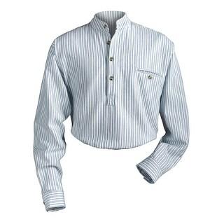 Men's Irish Grandfather Blue and White Stripe Banded Collar Shirt