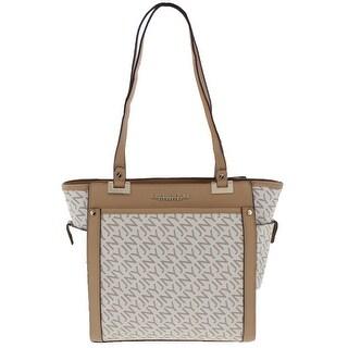 Jones New York Womens Tory Tote Handbag Faux Leather Logo - Medium
